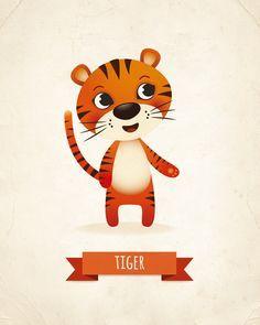 Nursery art print tiger nursery print animal by IreneGoughPrints - Animals Pin Nursery Prints, Nursery Art, Girl Nursery, Kids Prints, Art Prints, Image Deco, Cute Illustration, Illustration Animals, Cute Art