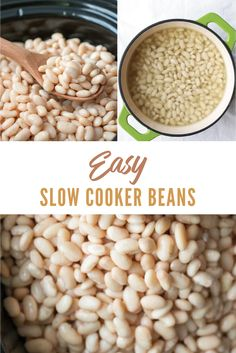 This recipe for Slow Cooker Beans is an easy way to save money on healthy food. Soak first to de-gas the beans and then the slow cooker does the cooking for hands-off meals! #instantpotslowcookerrecipes #cheapslowcookerrecipes #bestslowcookerrecipes #slowcookerrecipeshealthycleaneating #simpleslowcookerrecipes Slow Cooker Beans, Slow Cooker Recipes, Homemade Beans, Cooking Dried Beans, Ham And Bean Soup, Healthy Snacks, Healthy Recipes, How To Cook Beans, Allergy Free Recipes