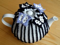White, navy and lilac butterflies on your tea cosy! by Golden Heart Crafts. Golden Heart, Heart Crafts, Cosy, Bucket Bag, Lilac, Butterflies, Tea, Crochet, Handmade