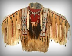 Vintage 1990s Beaded Leather Warrior Shirt by Cree Indian Leonard Many Trails