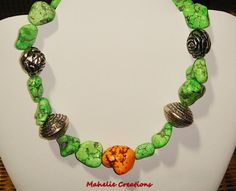Green turquoise necklace green howlite nuggets by MahelieCreations, $22.00