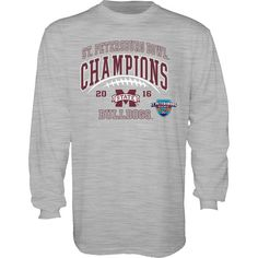 Mississippi State Bulldogs Blue 84 2016 St. Petersburg Bowl Champions Long Sleeve T-Shirt - Heathered Gray - $22.99