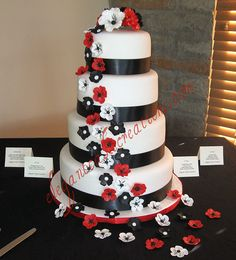 Black, white and red wedding cake by Elegant Cake Creations AZ, via Flickr