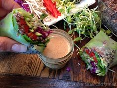 Sesame Crusted Avocado Spring Rolls with Almond Dipping Sauce