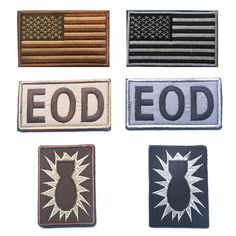 50 PCS/LOT Usa American Flag Eod Tactical Us Army Morale Military Badge Patch Embroidered Patches Tactical Badges Fabric Sticker #Affiliate