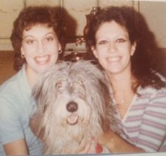 Throwback Thursday: Hairdo Hall of Fame  It's hard to decide who has the worst hair in this 80's relic - me with the bad perm, my sister with the big 'do, or our shaggy dog, Mickey. Time to put this back in the archives! ~ Pat http://www.asburylanestyle.com/ #asburylanestyle #badhairdos