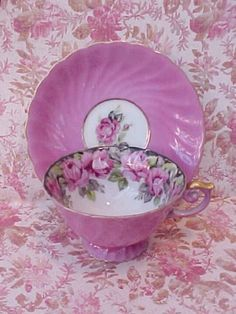 Antique China tea cup and saucer in pretty pink Cup And Saucer Set, Tea Cup Saucer, Antique Tea Cups, China Tea Cups, Teapots And Cups, My Cup Of Tea, Tea Time, Tea Party, Tea Sets