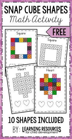 Snap Cube Shapes Activity | Shapes Printable. Fun way to teach shapes in preschool, pre-k, and kindergarten. By Learning Resources for Child Development. #shapes #shapesactivity #teachingshapes #snapcubes #snapblocks #preschool #prek #kindergarten #earlychildhood #earlymath