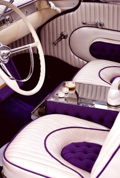Purple and White interior ~Would seriously get this when I get a Mustang or Limo.