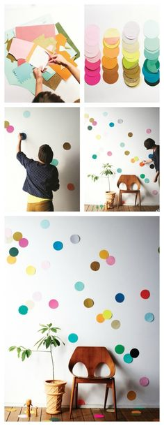 Cut circles from an array of colorful and textured papers and adhere them to the wall using Blu-Tack. You can use them as decorations for a special event or leave them up! Check out these directions.