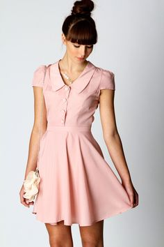 Viv Vintage Peterpan Collar Fit and Flare Dress at Boohoo.com -love this color!