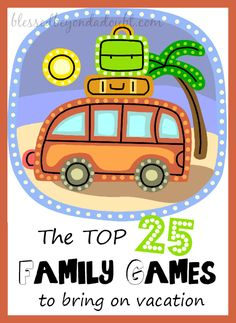 The TOP List of Card Games and Dice Games for Families – Blessed Beyond A Doubt Check out the the TOP 25 NON virtual family games to bring on vacation. We love to have marathons! Is your favorite on the list? Virtual Family Games, Family Games To Play, Virtual Families, Family Activities, Games For Kids, Kids Fun, Summer Activities, Vacation Games, Vacation Trips