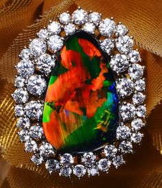 Beautiful Black Opal Ring with Diamonds #jewelry #ring #australia #gemstones