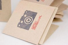 This is a set of 12 Kraft mini cards, stamped with an image of a camera and the text Instalove  Perfect complement for gifts or giveaways.  Each card measures 6.5 x 6.5 cm, made out of 65-lb Kraft card stock. Card is blank inside for you to write your sentiments.  Price indicated here is for a set of 12.  If you require a different quantity, let me know and Ill create a custom listing for you.  Thanks for looking