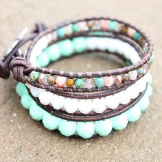 Sea foam and white wrap bracelet - perfect for spring!