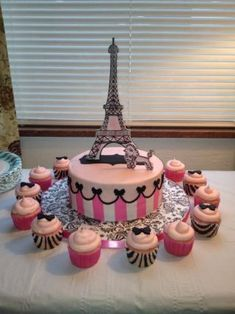 Birthday Request for Paris Theme….Eiffel Tower and Poodle made from Gumpaste, dusted pink and painted with black gel thined with vodka