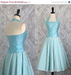Vintage 1950s Dress 50s Dress Ice Blue Party by SassySisterVintage