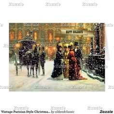 Vintage Parisian Style Christmas Cards