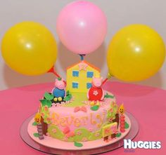 I made this cake for my daughter 2nd birthday. Inside is rainbow cake with butter cream covering with icing sugar. Have Peppa with lot of flower and George play in the muddy puddy. And also had yellow house Peppa family, 2 candles and 3 balloons. with a lot of flower because my daughter love flower. my daughter love the cake.