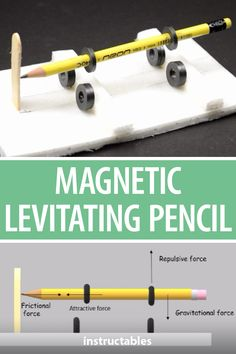 Learn about magnetic attraction and repulsion gravitational force and more with this magnetic levitating pencil project. The Effective Pictures We Offer You Physics Projects, Cool Science Experiments, Science For Kids, Science Activities, High School Science Projects, Physics Tricks, Physics Jokes, Cool Science Fair Projects, Physics Formulas