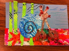 Drip, Drip, Splatter Splash, A House for Hermit Crab, by Eric Carle Hermit Crab Crafts, Hermit Crabs, Kids Collage, Kindergarten Art Lessons, Crab Art, Fall Art Projects, 2nd Grade Art, Eric Carle, Art Classroom