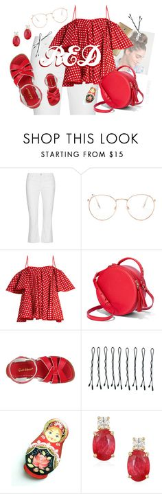 """""""Color Series 007 x Red   Summer Fun"""" by relixandria ❤ liked on Polyvore featuring Joie, Glance Eyewear, Anna October, Salt Water Sandals, BOBBY and Effy Jewelry"""