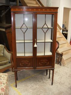 Inlaid Edwardian Display Cabinet - Antiques Atlas