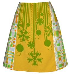 "SAMPLE SALE (36"" waist) lazy daisy skirt - yellow and green - mod flowers and fun plaid on Etsy, $40.00"