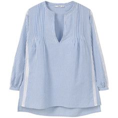 MANGO Striped Cotton Blouse (€45) ❤ liked on Polyvore featuring tops, blouses, cotton blouses, stripe top, side slit top, mango tops and long sleeve tops