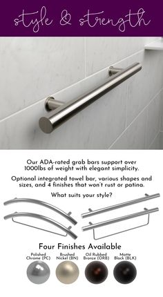 Add accessibility AND style to your bathroom with our durable grab bars. Available in polished chrome, brushed nickel, oil rubbed bronze, and matte black.
