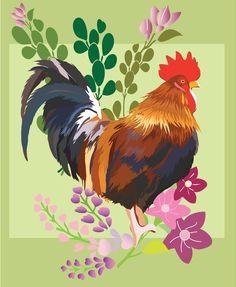 8x10 Art Print Rooster Mardi 3 by TheOpulentNest on Etsy, $18.00