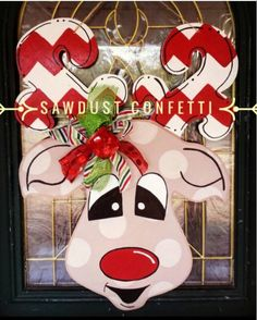 Rudolph Door Hanger LARGE Reindeer Door Hanger by SawdustConfetti Burlap Crafts, Christmas Projects, Holiday Crafts, Wood Crafts, Christmas Wreaths, Christmas Decorations, Christmas Ideas, Christmas Art, Christmas Door Hangers