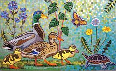 "Mallard Family mosaic art detail from ""Here Comes the Sun"" by Yetti Frenkel and Joshua Winer, Oct 2011. Mosaic mural for Union Crossing."