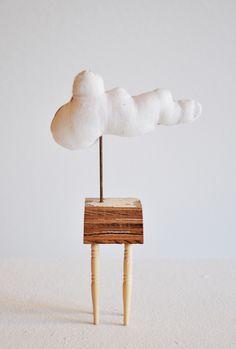 """Mini Cloud Table, ERIN VINCENT, Antique Textile, Wood, Found Object, 4.5"""" x 6"""" x 2"""""""