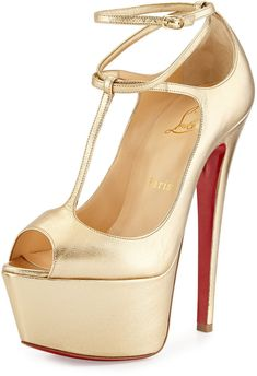 Christian Louboutin Talitha Platform Red Sole Pump, Gold