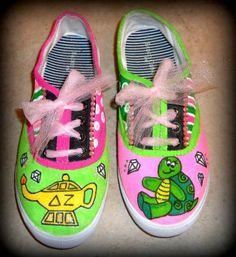 Simple Delta Zeta sorority lamp & turtle painted shoes!
