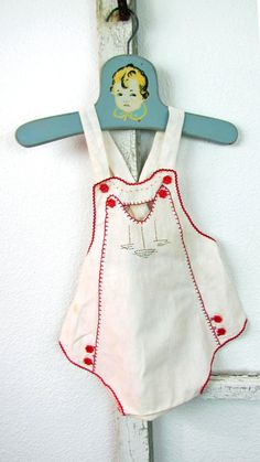 Vintage Baby Sunsuit 1940's with Sailboat by VintagePolkaDotcom, $24.00 #vintagesunsuit #babysunsuit #sunsuit