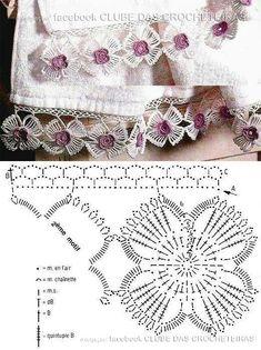 Floral lace shawl pattern by Olga Crochet Motifs, Crochet Borders, Crochet Flower Patterns, Crochet Diagram, Form Crochet, Crochet Chart, Thread Crochet, Crochet Trim, Crochet Designs
