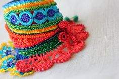 Heliamphora Arenicola … Freeform Crochet Cuff - Colorful Flowers -  Yellow Red Blue Green - Statement Jewelry by irregularexpressions ...