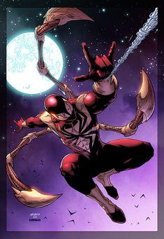 Drawn by Wayne Nichols. Iron Spider man by Wayne Nichols colored Marvel Comic Books, Comic Book Characters, Marvel Characters, Marvel Heroes, Comic Books Art, Comic Character, Comic Art, Amazing Spiderman, Spiderman Art