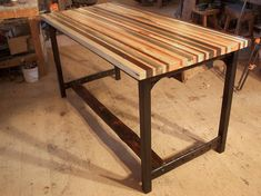 Butcher Block Kitchen Island with Industrial by BarnWoodFurniture