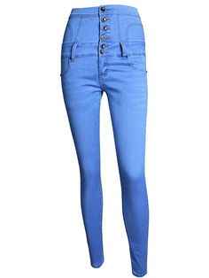 Multi Buttons High Waist Blue Denim Skinny Jeans,make you eye-catching in the crowded. Plus Size Womens Clothing, Plus Size Outfits, Clothes For Women, Plus Size Jeans, Sexy Jeans, Denim Skinny Jeans, Cheap Plus Size Lingerie, Estilo Jeans, Jeans Boyfriend