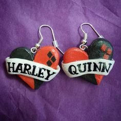 Hey, I found this really awesome Etsy listing at https://www.etsy.com/listing/210735841/harley-quinn-heart-banner-earrings
