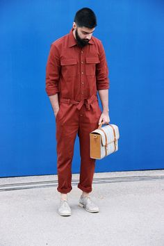 Street Style: Pranav Guglani in New Delhi menstyle worker overalls sockless beard
