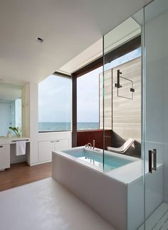 Bathroom With A View From The Bathtub // Sagaponack House By Bates Masi  Architects