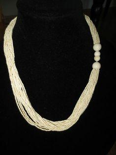 Vintage Faux Ivory Multi Strands Necklace | eBay