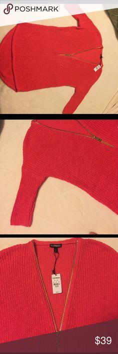 BRAND NEW Express short sleeved light sweater BRAND NEW!! Coral/pink color lightweight sweater with adjustable gold zipper Express Sweaters V-Necks