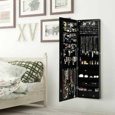 Latitude Run® Amrutha Wall Mounted Jewelry Armoire with Mirror & Reviews | Wayfair