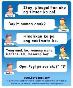 Pinoy Jokes Tagalog, Tagalog Quotes Hugot Funny, Tagalog Love Quotes, Short Funny Quotes, Love Quotes Funny, Funny Picture Quotes, Pinoy Quotes, Hugot Quotes, Sms Jokes