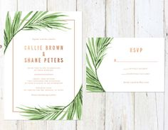 HELLO & Thanks for visiting my shop! >>> A B O U T ⋆ T H I S ⋆ L I S T I N G <<< This suite includes: - Invitation Card 5 x 7 - Response Card 5 x 3.5 - Invitation Envelope - Response Card Envelope Wording, layout and text color may be changed to your liking! *Note: The rose gold